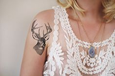 Temporary tattoo vintage deer head @ tattoorary