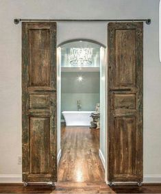 Check out these 15 Dreamy Sliding Barn Door Designs that are sure to inspire! Check out these 15 Dreamy Sliding Barn Door Designs that are sure to inspire! Barn Door Designs, Interior Barn Doors, Rustic Interior Shutters, Rustic Curtains, My New Room, My Dream Home, Dream Homes, Home Remodeling, Bathroom Remodeling