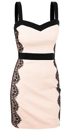 Lace side pencil dress