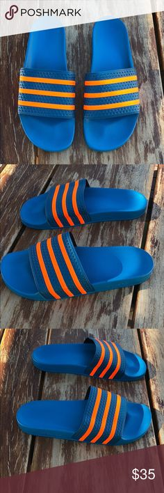 new style 5079b 5c1dd ADIDAS Adilette Slides  14 ADIDAS Adilette Slides. Size 14 Color Blue  with fluorescent orange stripes Condition Excellent, Pre-Owned adidas Shoes  ...