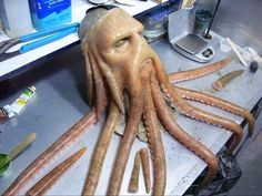 Davy Jones Cosplay from Pirates of the Carribean — Stan Winston School of Character Arts Forums<br> Mascaras Halloween, Creepy Halloween Makeup, Polymer Clay Sculptures, Sculpture Clay, Davy Jones Costume, Homemade Pirate Costumes, Prosthetic Makeup, Sfx Makeup, Pirate Theme