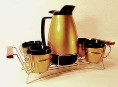 Vintage Thermo Serv Coffee Carafe Coffee cups  ~Mad Men coffee service!