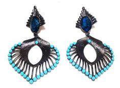 Brinco Arabesco - Turquesa e Azul Marinho