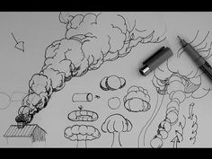 How to draw a rising smoke cloud or explosion cloud - YouTube