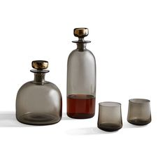Each gift set includes two hand-blown glasses, plus a decanter (you pick Tall or Wide)—all in a rich Whiskey Decanter, Whiskey Glasses, Smoked Whiskey, Antique Perfume Bottles, Grey Glass, Venetian Glass, Pure Products, Rich Colors, Art Nouveau
