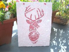 Shabby chic mosaic stag plaque - pinned by pin4etsy.com
