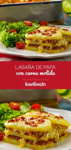 Potato Lasagna with Ground Beef - Recetas con papa - Cooking Time, Cooking Recipes, Healthy Recipes, Carne Molida Recipe, Cheese Pasta Bake, Deli Food, Food Hacks, Mexican Food Recipes, Chicken Recipes
