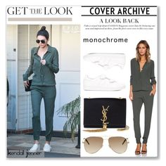 """""""Get The Look: Kendall Jenner's Olive Green Jumpsuit"""" by jennytrends ❤ liked on Polyvore featuring Monrow, Yves Saint Laurent, adidas Originals, GetTheLook and kendalljenner"""