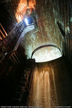 The main waterfall for which Gorton Fall's is named. Sewer tunnels Manchester.