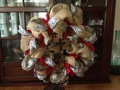 Copycat of wreath I saw on Etsy.  Loved the burlap with the animal print!