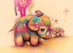 «vintage tie dye elephants» de © Karin Taylor