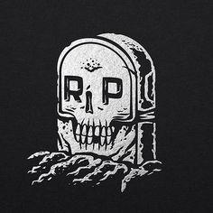 WEBSTA @ travispriceillustration - Quick illo that's been sitting in my sketch pad. #grave #rip #skull #restinpeace #vector