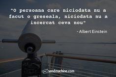 """O persoana care niciodata nu a facut o greseala, niciodata nu a incercat ceva nou"" - Albert Einstein Einstein, Gym, Inspiration, Biblical Inspiration, Excercise, Inspirational, Gymnastics Room, Inhalation, Gym Room"