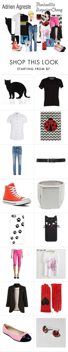 """""""Miraculous Ladybug Adrian and Marinette"""" by blue828 on Polyvore featuring 157+173 designers, Topman, Denham, M&Co, Converse, Maison Margiela, Casetify, St. John's Bay, Coccinelle and Christopher Kane"""