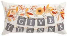 Fall Home Decor and Interior Design Decorative Pillow for Thanksgiving Made In India 14x26 Garland Give Thanks