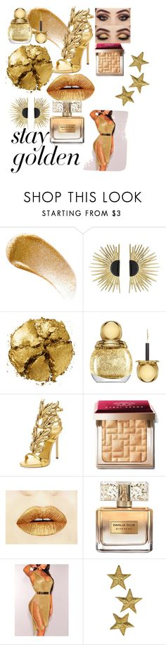 """""""Stay Gold"""" by judy-abalo ❤ liked on Polyvore featuring BBrowBar, Aurélie Bidermann, Pat McGrath, Christian Dior, Giuseppe Zanotti, Bobbi Brown Cosmetics and Givenchy"""