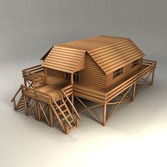 3d woodhouse wood house model