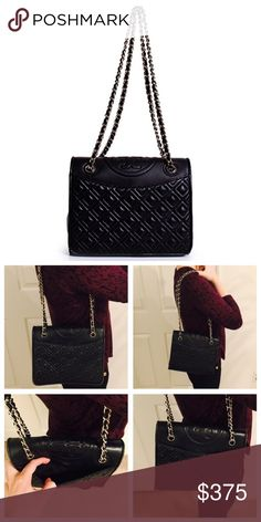 """Tory Burch Fleming Quilted Crossbody Used, but in decent condition. Leather with magnetic snap-flap closure. Interior zip. Adjustable chain strap. Measurements: W: 9"""" H: 7"""" D: 3"""" ; Strapdrop: 12"""". Tory Burch Bags Crossbody Bags"""