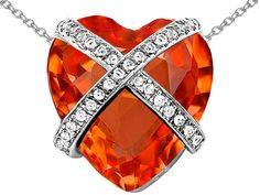 Star K Large Prisoner of Love Heart Pendant Necklace with 15mm Heart Shape Simulated Mexican Orange Fire Opal