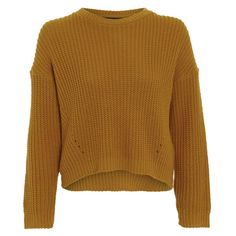 Damned Delux Women's Cesca Knitted Jumper - Mustard Gold featuring polyvore, fashion, clothing, tops, sweaters, shirts, jumpers, yellow, gold shirt, brown shirt, crop shirts, oversized shirt and over sized sweaters