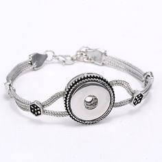Fashion Handmade DIY Button Bracelet Silver Plated Adjustable Link Chian Bracelet Nice Unisex Jewelry Accessory