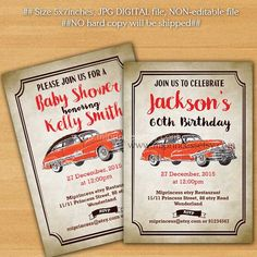 Birthday Invitation OR Baby shower  vintage car 1st by miprincess