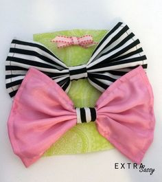 Salvaged Series: Pink and Black/White Striped Hair Bows - Set of 2 by ExtraSassy on Etsy