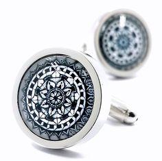 MFYS Jewelry ファッション アクセサリー クラシック 花デザイン 幾何学模様 紳士 メンズ カフス【専用収納ケース付き】 (B)