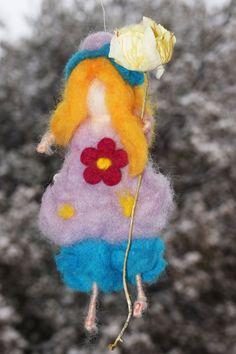 Needle felting fairy with flower,waldorf girl ,Angel flower girl,woolen fairy with flower,organic ornament with flower,mombile fairy flower by crystalhada on Etsy