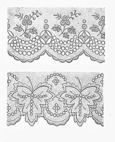 Border Embroidery Designs, Cutwork Embroidery, Embroidery Fashion, White Embroidery, Embroidery Patterns, Hand Quilting Patterns, Indian Flowers, Lacemaking, Border Pattern
