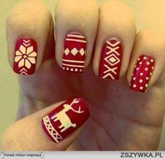 świąteczne paznokcie :)