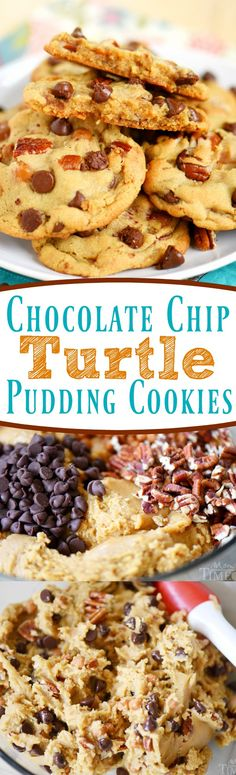 Outrageous Chocolate Chip Turtle Pudding Cookies are loaded with chocolate chips, pecans, and caramel. These giant, bakery style cookies will steal the show! Extra chewy and packed with flavor!
