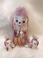 Vintage Dog Family of 3 Figurine~Cream, Brown Ceramic~Purple Fur~Chains~Japan
