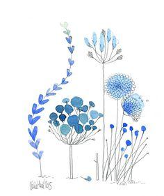 L'œuvre représente des fleurs bleues, de différentes sortes. Les couleurs sont froides avec différentes teintes de bleu. Le tableau n'est pas symétrique. Parce que selon moi le côté droit est plus charger que le côté gauche, mais je trouve que cela ajoute à l'œuvre plus de beauté. J'aime cette œuvre, car elle détend puisque je m'imagine parmi ses fleurs bleues qui volent au vent.
