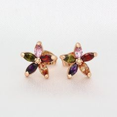 Kemstone Charming Rainbow Color Crystal Flower Stud Earrings Gold Tone Jewelry for Women ** See this great product. (This is an affiliate link) #JewelryDesign