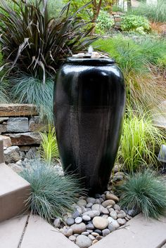 one of these dinky sized (3' high, 1' wide or so) fountains could be a fun way to add white noise in — Chris Quinn http://www.houzz.com/projects/882527/moraga-country-club-small-frontyard
