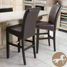 Christopher Knight Home Louigi Brown Leather Bar Stools (Set of 2) $289.99 thestylecure.com