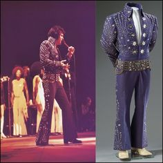 "SEEN IN ELVIS ON TOUR! ELVIS wearing the ROYAL BLUE FIREWORKKS jumpsuit on stage in 1972. It is a royal blue jumpsuit with matching silver lined cape. ELVIS always wore it with the original belt. It is better known for the fans as ""The OWL Suit"" after THE KING wore during the filming of the 1972 documentary ""ELVIS On Tour"": https://www.youtube.com/watch?v=RxlGOxdgdhg"