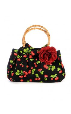 Cherry Print Purse with Bamboo Handles