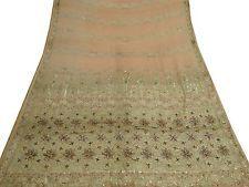 Vintage India Embroidered Saree Fabric Sarong Wrap Women Deco Sari 5YD Peach