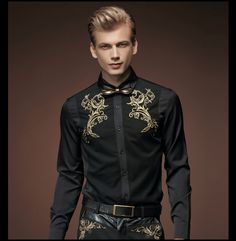 Fanzhuan Free Shipping New fashion casual 2015 male men's spring black shirt Retro shirts Korean Embroidery 512005 personality #RetroMens