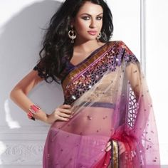 Shaded Pink Net Saree with Superb Border | $125.00 | http://goodbells.com/saree/shaded-pink-net-saree-with-superb-border.html