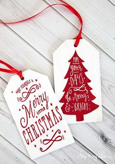 "Printed Wooden Christmas Gift Tags - use ""Rub Ons"" paper from Hobby Lobby and the free printable to make your own tags!"