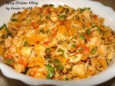 Spicy Chicken Filling - This colourful and spicy mixture works beautifully as a filling for buns, sandwiches, savoury stuffed croissants, and it can even work as a pizza topping if combined with a bit of sauce. Chicken Sandwich Filling, Filling Food, Chicken Snacks, Chicken Recipes, Raw Chicken, Veg Recipes, Creamy Chicken, Pizza Recipes, Recipies