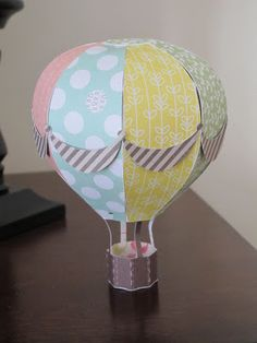 Up, up and away! Check out Racheal's Hot Air Balloon from HIGH SKIES SVG KIT! Great look with a different pattern paper on each panel!