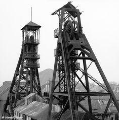 Coal mine headframes - 'Charbonnages du Bois du Cazier', Charleroi, Belgium   X