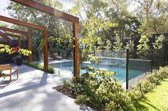 Blackburn Garden - timber pergola by the pool