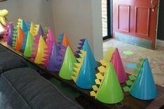 Elle's Pink Dinosaur Party! Dinasour Party, Dinasour Birthday, Dinosaur First Birthday, Dragon Birthday, Dragon Party, Diy Party Hats, Birthday Party Decorations, 1st Birthday Parties, 3rd Birthday