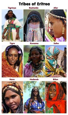 """hardcoregurlz: """"erifresh: """" These 9 women represent the 9 official tribes of Eritrea. They each have different languages they speak, music they play, clothes they wear, foods that are seen as special. African Tribes, African Diaspora, African Nations, African Culture, African History, Eritrean, Tribal People, Black History Facts, Black Pride"""
