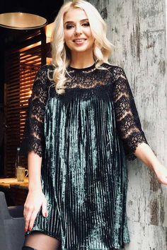 f4416f0ea9d Women Dark Green Hollow Lace Velvet Sexy Shift Casual Dress - M Mini Dress  With Sleeves